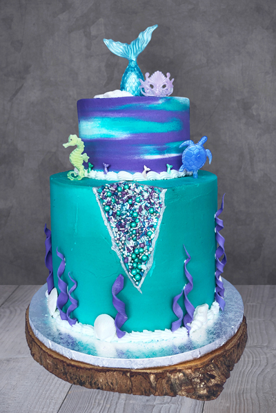 Mermaid Sprinkle Geode Cake