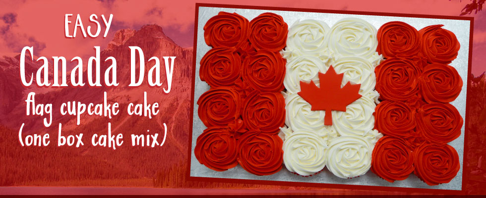 Easy Canada Day Flag Cupcake Cake - Scoop-N-Save