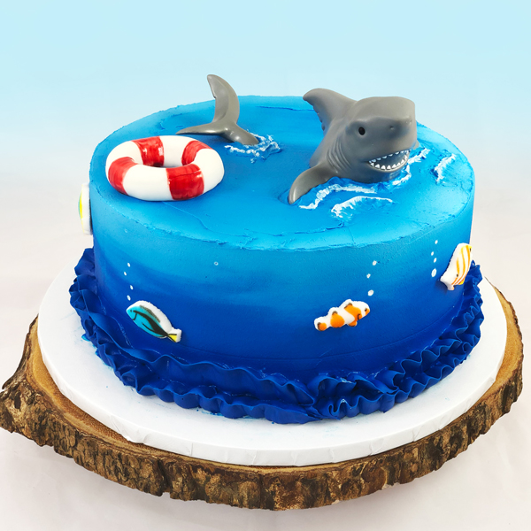 Stupendous Easy Shark Theme Birthday Cake Cupcakes Scoop N Save Funny Birthday Cards Online Fluifree Goldxyz